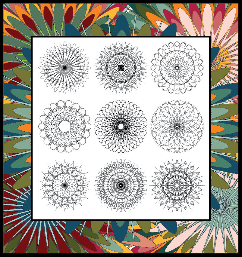 Coloring Book With 9 Geometric Mandalas Drawn By Wendy Geo