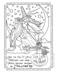 Vintage Halloween Witch & Owl Coloring Page