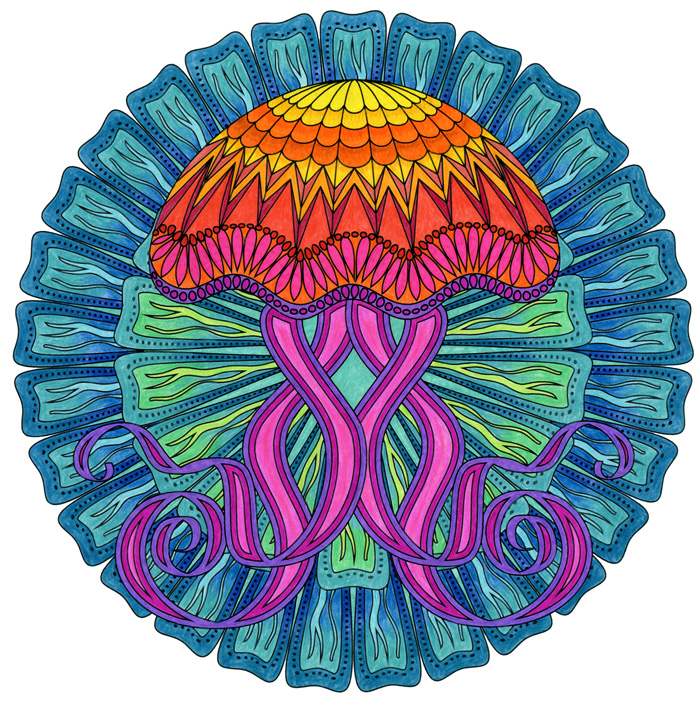 Jellyfish Adult Coloring Page