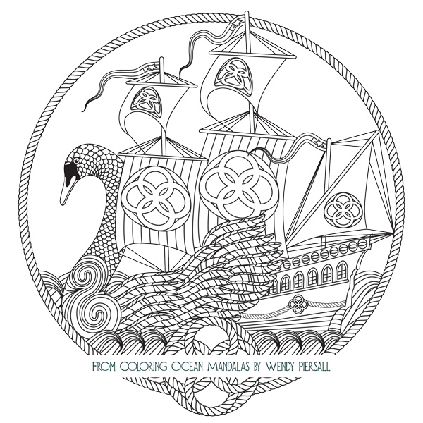 Celtic Swan Boat from Coloring Ocean Mandalas