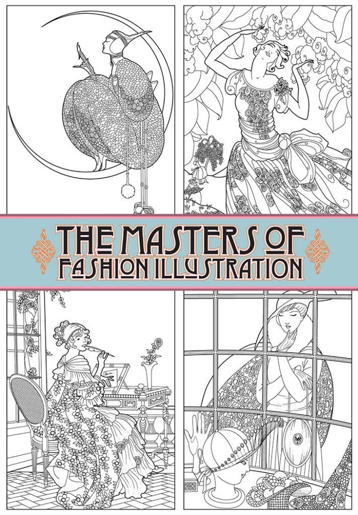 The Masters of Fashion Illustration Adult Coloring Book Sample Pages